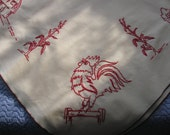 Vintage Country Hand Embroidered Redwork Tablecloth