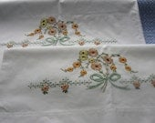 Set of Vintage Hand Embroidered Pillowcases