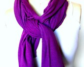 Long Purple Jersey Scarf - Mediumweight Shade of Purple Cotton Jersey Scarf