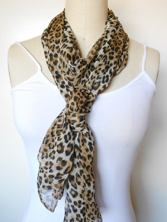 Long Brown Animal Print Chiffon Scarf - Brown Animal Print Sheer Scarf
