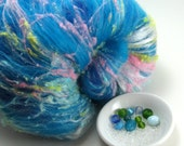 Confetti Bright - Drum Carded Batt - 3 oz Spinning Fiber and Beads