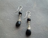 Black Onyx Teardrop and Sterling Silver Earrings