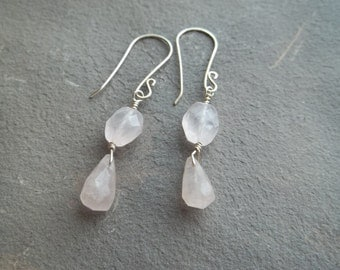 Rose Quartz & Sterling Silver Earrings