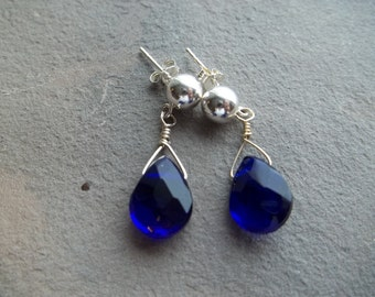 Cobalt Blue Glass Briolette Earrings