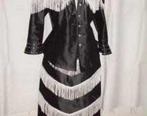 Custom Women's Girls Skirt Horse Show Jacket Western Rodeo Queen Cowgirl Black Denim Jeans Showmanship White Fringes Beads Beaded Sequins