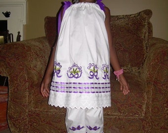 Girls White Beach Portrait Pillowcase Dress Capri Pants Purple Flowers Sz 12, 18, 24 mo, 2t, 3t, 4t, 5, 6, 7, 8, 10, 12