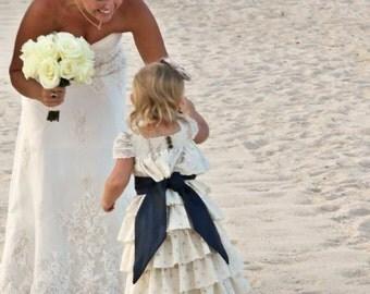 Custom Flower Girls Dress Wedding Ivory Beach Portrait Photo Vintage Heirloom Layers Eyelet Lace Ruffles Size 1/2t 1t 2t 3t 4t 5 6 7 8