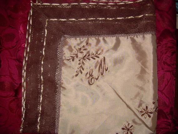 Custom Lap Scarves Lap Cloth Satin Monogrammed Church Monogram Handkerchiefs Wedding Brides Mom Bridesmaid Church Scarf Personalized Gifts