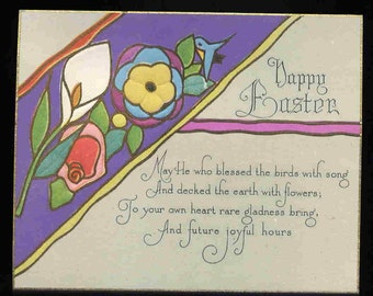 aRt NOUVEAU AntiQuE GREETING CARD oLd stOcK UNUSED Easter Flowers