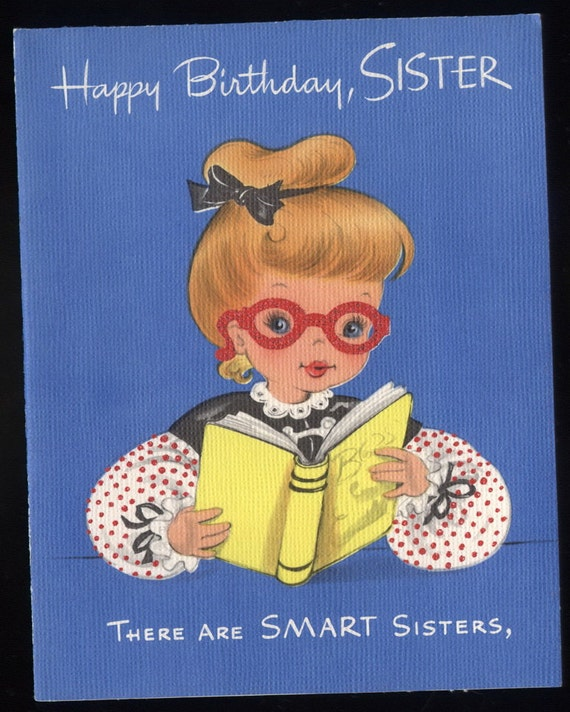 Vintage Greeting Card Girl In Glasses Reading By