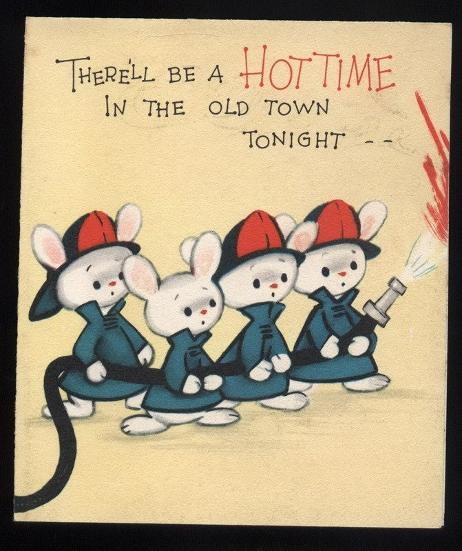 Vintage Fireman Bunnies Happy Birthday By Vintagerecycling
