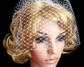 White OR Ivory pick of nose birdcage veil