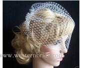 Ivory Bridal Weding Rusian Net Birdcage Veil with  Crystal Edge