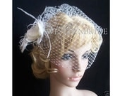 Wedding Ivory Bridal Weding Rusian Net Birdcage Veil with double Crystal Edge and fascinator. Ready to wear.