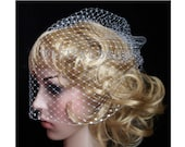 SNOW WHITE  full Bridal Weding veil Rusian Net Birdcage Veil with  Crystal Edge