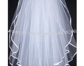 BALLET WALTZ 2 tier Elegant Wedding Bridal veil. White or Ivory , your choice. With silver comb ready to wear