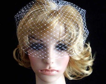 BRIDAL WEDDING White OR Ivory Bridal Weding Rusian Net Birdcage Veil with  Crystal Edge