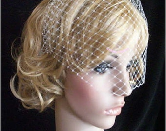 Rusian Veiling ivory Blusher Wedding Veil with Comb Ready to Wear
