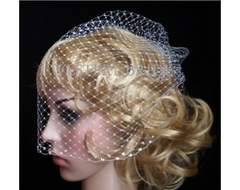 White full Bridal Weding veil Rusian Net Birdcage Veil with  Crystal Edge