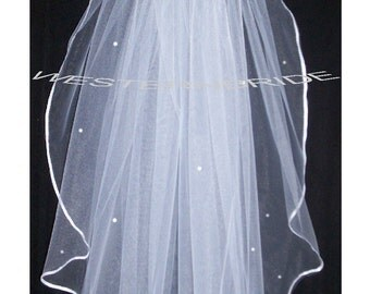 Swarovski Rhinestone  ACCENT Elegant Wedding Bridal veil. White or Ivory , your choice. elbow lenght with silver comb ready to wear