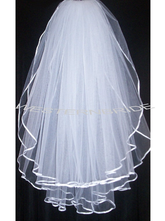 2 tier Elegant Wedding Bridal veil. White or Ivory , your choice. elbow or fingertip lenght with silver comb ready to wear