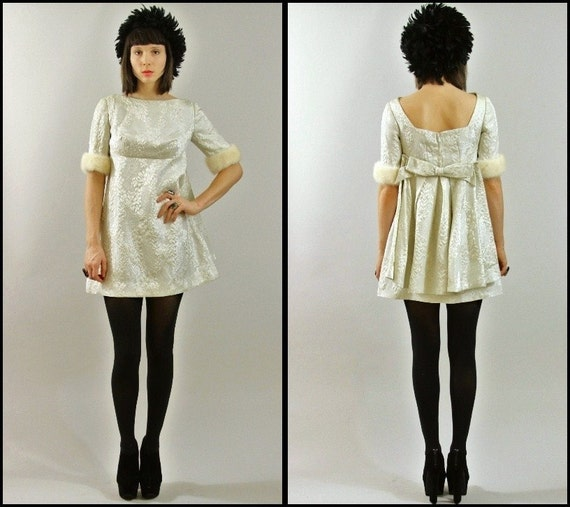 Vtg 60's MOD fur RABBIT wedding METALLIC silver /empire/  party / sparkly/ mini dress