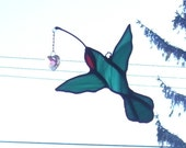 Stained Glass Suncatcher/Ornament Petite Ruby Throated Hummingbird with Glass Heart
