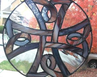 Stained Glass Suncatcher...Celtic Knot Cross in Multi Tone