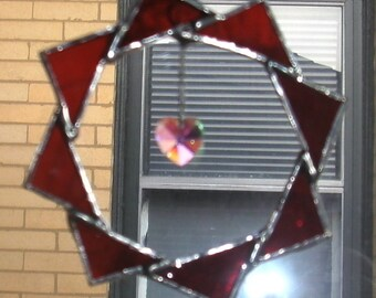 Stained Glass Suncatcher/Ornament...Red Star with Crystal Heart OOAK