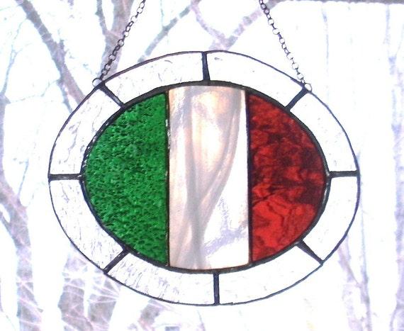 Stained Glass Italian Flag Suncatcher...SALE