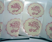 Tea Rose Pink Shabby Chic Stickers/Envelope Seals