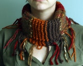 Handknit Harvest Cowl/Circle Scarf/Neckwarmer in Cranberry Red, Chocolate Brown, and Rust Orange with Fringe