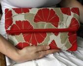 Zipper Clutch Foldover Clutch in Khaki Tan and Red Gingko Leaves