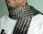 Handknit Striped Scarf Mens Scarf in Charcoal Gray, Black and Brown