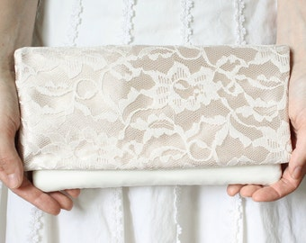 The LENA CLUTCH - Champagne and Ivory Lace Clutch - Wedding Clutch Purse - Bridesmaid Gift Idea
