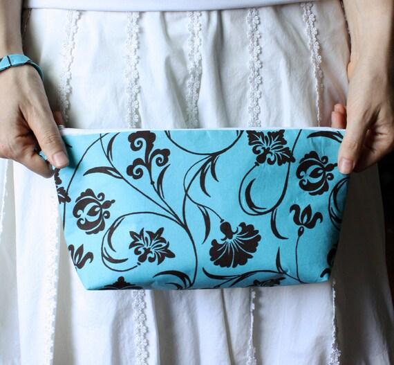 Wristlet Clutch Handbag Turquoise Blue Brown Floral detachable key fob