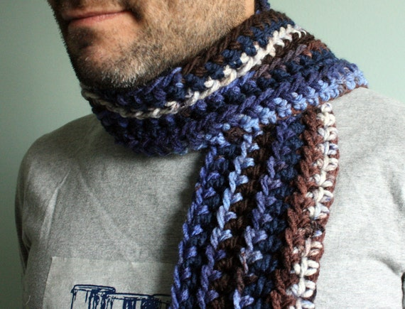 Christmas Sale 15% Off Crochet Striped Scarf Mens Scarf Dude Scarf Guy Scarf in Navy Blue and Brown