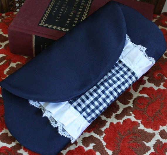 Navy Purse Small Dark Blue Clutch Fold over Clutch in Gingham and Lace - CLEARANCE SALE