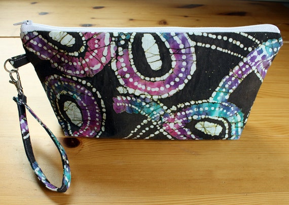 CLEARANCE - 30% OFF Wristlet Clutch Handbag in Brown, Pink, Purple, Teal Green, Blue and White Batik with detachable key fob