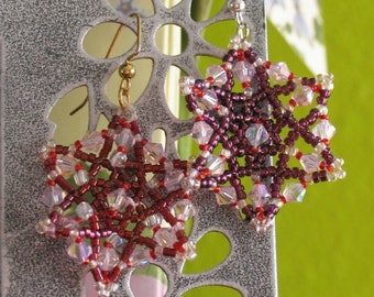 Purple and Pink Glass Beaded Snowflake Earrings by DENISE SLOAN