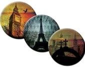Grungy Travel Photos – 1 inch and 1.25 inch circles - (2) Digital collage sheets