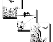 Nature in Black and White collage sheet - .83 x .75 Scrabble Tile Size