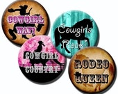 Cowgirl Sayings – 1 inch - .75 inch and 16mm circles - (3) Digital sheets