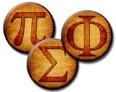 Greek Alphabet Aged Brown - 1 inch, 16mm, 14mm, 12mm Circles