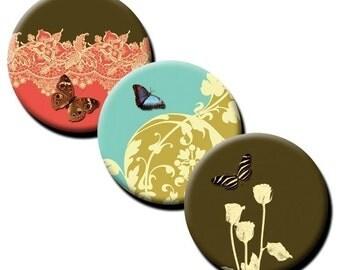 Nature in Coral, Aqua & Chocolate - 1 inch circles - Digital download