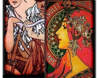 Alphonse Mucha Mixed Media - 1x2 inch and 1 7/8 inch rectangles - (2) Digital sheets