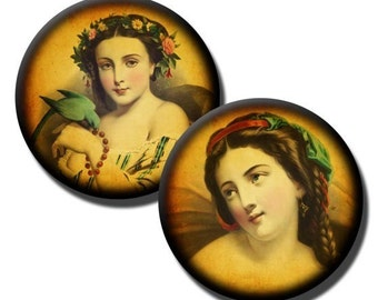 Classic French Beauties collage sheet - 1 inch circles/25mm/bottle cap images