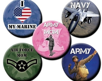 Military theme - 1 inch circles - You get 2 sheets  - Military / Navy / Army / Air Force / Coast Guard / Marines