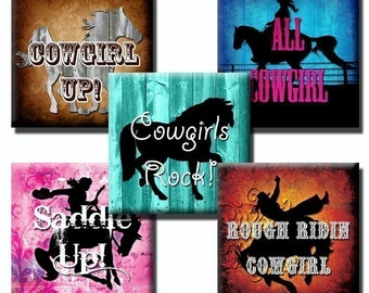 Cowgirl Sayings collage sheet - 1 inch squares/25mm squares