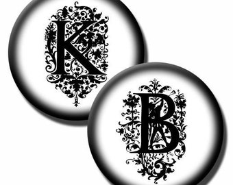 Elegant Letters in Black and White –  30mm 1inch and 1.25 inch Circles - (3) Digital sheets